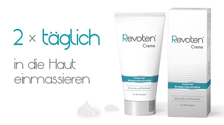 Anwendung Revoten Creme: 2 mal täglich in die Haut einmassieren